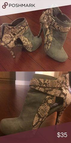 """Grey Mix No 6 High Cutout Booties Sz 8 Grey Mix No 6 5"""" Cutout booties with python accents in almost new condition! These booties are great for pairing with jeans for a casual night out or with a shirt dress for something a bit dressier! These boots have only been worn once and show no signs of wear. Shoes Ankle Boots & Booties"""