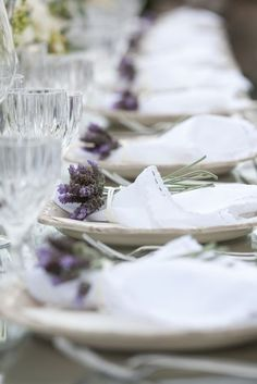 cloth napkins tied with lavender | White linen napkins with lavender.
