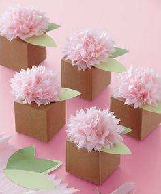 Brown Pom-Pom Flower Box