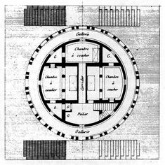 Claude-Nicolas Ledoux, Project for a Country House, First Floor Plan French Architecture, Classical Architecture, Historical Architecture, Architecture Plan, Interior Architecture, Interior Design, Claude Nicolas Ledoux, Nordic Classicism, Circular Buildings
