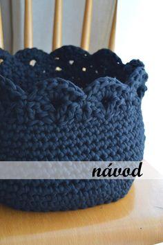 Crochet pattern Round Lace Edge Basket Darkness by JoanJHandmade Crochet Basket Pattern, Crochet Patterns, Cotton Cord, T Shirt Yarn, Crochet Designs, Merino Wool Blanket, Diy And Crafts, Crochet Hats, Beanie