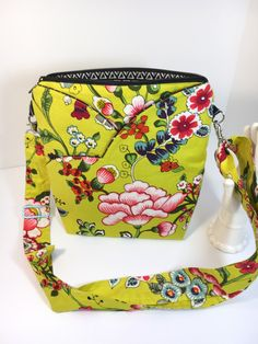 WOW! Floral Bag with Chartreuse~New Style~CROSSBODY BAG~Asian Inspired Shoulder Bag~Travel Bag~ Bags & Purses~Handbags~Handmade Fabric Bag by TwoBossyBritches on Etsy https://www.etsy.com/listing/491915373/wow-floral-bag-with-chartreusenew