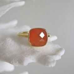 Tangerine Jewelry Shop - Gold Vermeil Faceted Carnelian Ring