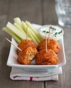 Buffalo Quinoa Bites. A healthy game day treat.