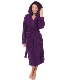 47353666ed Womens Turkish Terry Cloth Robe- Thick Hooded Bathrobe - Purple -  CU11JYR6KLP