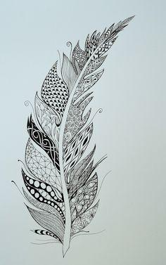 Simple Flower Drawing, Floral Drawing, Mandala Drawing, Mandala Art, Feather Drawing, Feather Art, Feather Tattoos, Body Art Tattoos, Zentangle Patterns