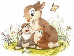 Thumper w his Momma & Sister Bambi Disney, Arte Disney, Disney Cartoons, Disney Art, Illustration Mignonne, Cute Illustration, Cute Animal Drawings, Cute Drawings, Cartoon Pics