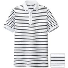 UNIQLO Dry Pique Striped Short Sleeve Polo Shirt (21.710 COP) ❤ liked on Polyvore featuring mens, men's clothing, men's shirts and men's polos