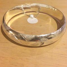 Sterling silver bangle bracelet Thicker sterling silver bangle bracelet with chain clasp Jewelry Bracelets