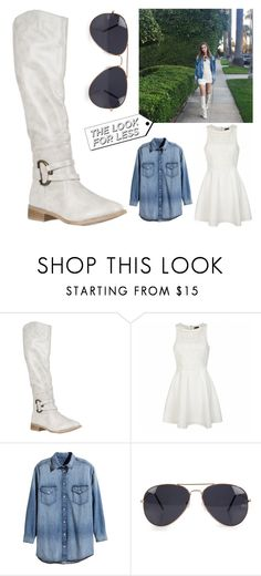 """""""Look for Less - Denim #4"""" by leiastyle on Polyvore featuring Ally Fashion, H&M, NLY Accessories, white, denim and Kneehighboots"""