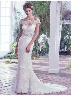 Meerjungfrau Schöne Romantische Brautkleider aus Spitze mit Schleppe