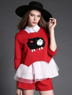 Red Shirt Collar Sheep Patched Mesh Hem Top and Zip Shorts