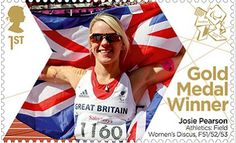 Paralympics Gold Medal Winner stamp - Athletics: Field Women's Discus, F51/52/53, Josie Pearson.