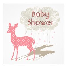 Pink Bambi Baby Shower Inviation Invites