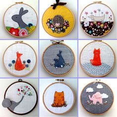 My name is Sharon and I live in a small village in the centre of the UK. I make textile art framed in wooden embroidery hoops - my pictures are simple and fu