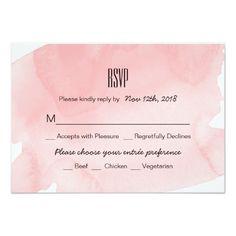 Watercolor Wedding Invitation Pink Watercolor Wash Wedding RSVP Card