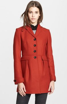 Burberry Brit 'Elmwyn' Leather Trim Fit & Flare Wool Blend Coat available at #Nordstrom