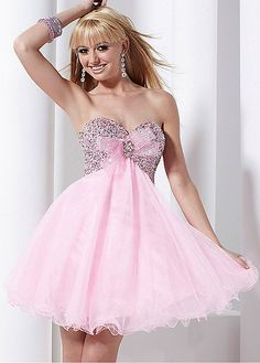 Sparkling Tulle Empire Strapless Sweetheart Knee Length Beaded Homecoming Dress/Cocktail Dress
