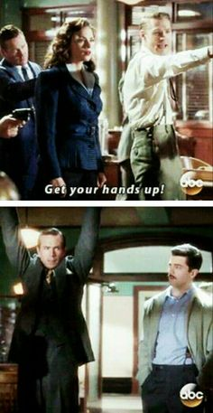 """""""Get your hands up!"""" - Agent Thompson ((Howard-"""" Seriously Jarvis? You're embarrassing me"""")) #AgentCarter"""