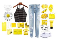 """""""A little bit of Sunshine"""" by leslieelisabeth ❤ liked on Polyvore featuring Dsquared2, Keds, Eos, Marc Jacobs, Versace, adidas, Sephora Collection, Maybelline, Rodial and Fujifilm"""
