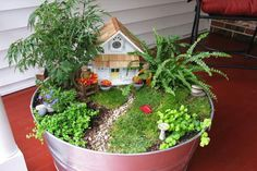 Fairy Garden in a Galvanized Tub (everything is scaled perfectly - house, path, tiny birdbath, plants)