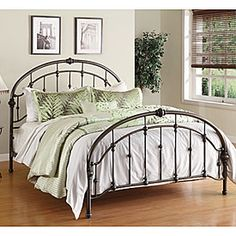Come see our great selection of beds at Big Lots!      Elegant arched silhouette accented with delicate casting     Antique pewter finish that will complement any décor     Accommodates queen-sized mattress and box spring     Constructed of tubular steel     Bed includes headboard, footboard, rails, slats and support legs     Some assembly required