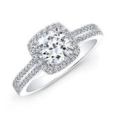 18k White Gold Split Shank Square Halo Diamond Engagement Ring -