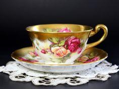Royal Chelsea, Golden Rose, Cup and Saucer Set, Bone China, Vintage Teacups