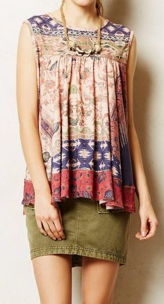 Anthropologie  Twill Cargo Skirt - I actually like the entire combo; especially this boho shirt!
