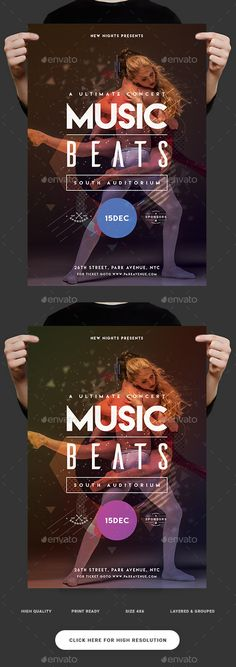 Music Beats Party Flyer Template PSD