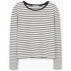 MANGO Striped T-Shirt ($20) ❤ liked on Polyvore featuring tops, t-shirts, stripe tee, long sleeve tee, striped t shirt, longsleeve t shirts and white stripes t shirt
