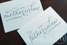Wedding Card to Your Future Mother and Father in-law -- Parents of the Bride or Groom Cards. $6.50, via Etsy.