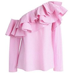 Chicwish Swanky One-shoulder Ruffle Top in Pink Stripes featuring polyvore women's fashion clothing tops sweaters pink party tops one shoulder sweater pink striped sweater pink top pink sweater
