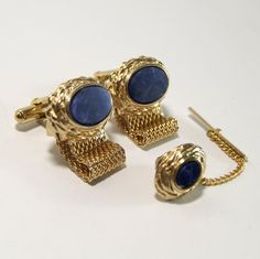 Vintage Men's Blue Sodalite and Gold Cuff links and by DelVintage, $40.00