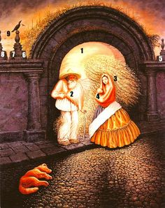 """This famous illusion painting is called """"The General's Family"""" by Mexican painter Octavio Ocampo, and hidden within it are nine faces. Optical Illusion Paintings, Amazing Optical Illusions, Optical Illusions Pictures, Illusion Pictures, Art Optical, Illusion Kunst, Illusion Art, Funny Illusions, Image Halloween"""