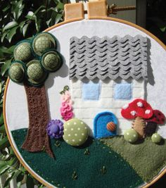 Use Dritz cover buttons to craft this Fairytale Landscape for your little one - the best thing about this project is, you customize it based on the fabrics & felt you choose! Full instructions @Jo-Ann Fabric and Craft Stores #DIY #crafts #kids