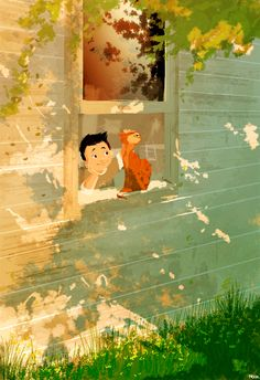 Boy and cat looking at the window. 'Good Morning Sunshine' by Pascal Campion