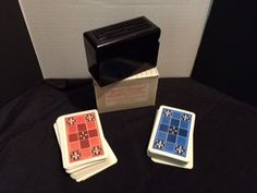 KEM  Plastic Playing Cards with plastic box/case & paper box vintage Bakelite by CrystalTreasureTrunk on Etsy