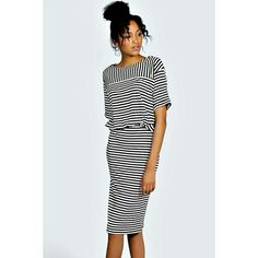 Striped Midi Dress Striped Midi Dress from Boohoo. Size small but stretches so it could fit a medium. Fitted bodycon shape on the bottom, looser top. Super cute. Can be worn casual or dressed up. Worn a handful of times. Boohoo Dresses Midi