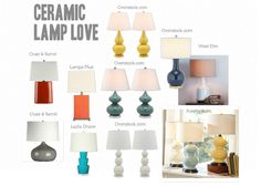 Ceramic gourd lamps - LOVE! Gourd Lamp, Ceramic Table Lamps, Affordable Home Decor, Inspiration Boards, Crate And Barrel, Design Projects, House Design, Lights, Ceramics