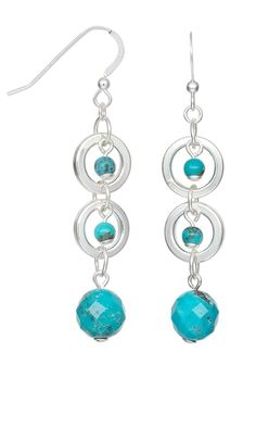 Earrings with Turquoise Gemstone Beads and Sterling Silver Loops - Fire Mountain Gems and Beads