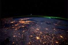 The Netherlands & Aurora Borealis (Northern Light) by Andre Kuipers (from the ISS)