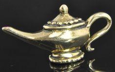 Estate Vintage 14K Yellow Gold Natural Ruby Genie Lamp Bottle 3D Charm Pendant   eBay I Dream Of Genie, Genie Lamp, Natural Ruby, Tea Pots, Lamps, Bottles, Anniversary, Charmed, 3d