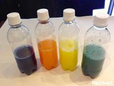 水の入った透明なペットボトルをシャカシャカ振ると… あら、不思議!水が一瞬にしてオレンジや黄色に! 誕生日会など、ちょっとした出し物のももってこい♪