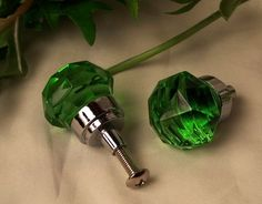 SMALL Green Solid Crystal Glass DrawerDoor Pull
