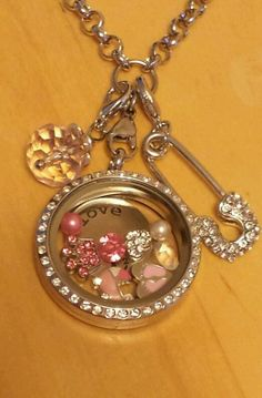 It's A Girl 2 Large Origami Owl Locket + 24in rolo+8charms+1plate+2dangles!!