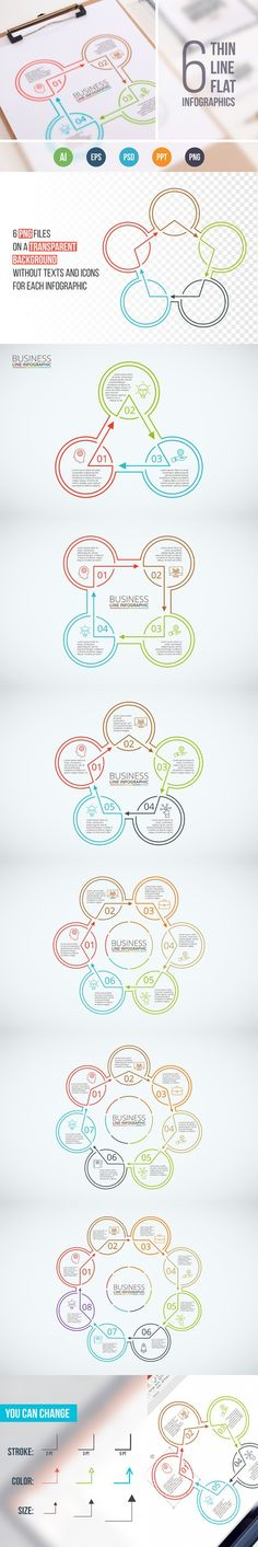 Line flat elements for infographic_4