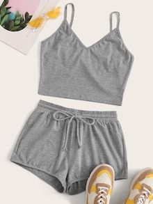 Shop Grey Cami Top & Drawstring Waist Shorts at ROMWE, discover more fashion styles online. Girls Fashion Clothes, Teen Fashion Outfits, Mode Outfits, Girl Outfits, Clothes For Women, Punk Fashion, Lolita Fashion, Fashion Dresses, Fashion Styles