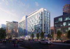 SEAPORT HOTEL, Seaport Square.  326 pod-like rooms, 11 stories.  Architect:  Add Inc.  Developer:  Boston Global Investors. (October 2015)