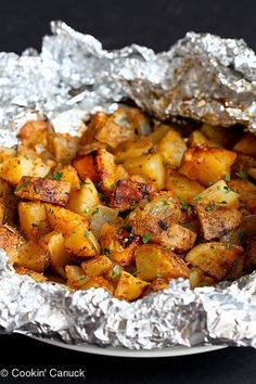 Grilled Potatoes Recipe with Rosemary & Smoked Paprika...Fantastic summertime side dish! | cookincanuck.com #vegetarian #vegan #glutenfree